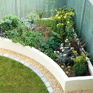 corner of backyard Raised Garden Bed Landscaping idea
