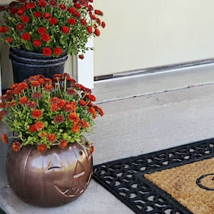 spray painted pumpkin pail with fall mums on porch