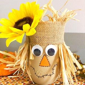 Scarecrow Painted Mason Jar