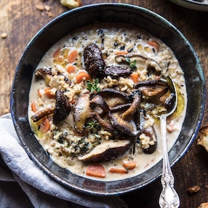 Creamy Wild Rice Soup with Butter Roasted Mushrooms