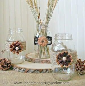 Pine Cone Flower Jars