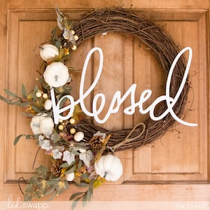 Blessed Wall Word Grapevine Wreath