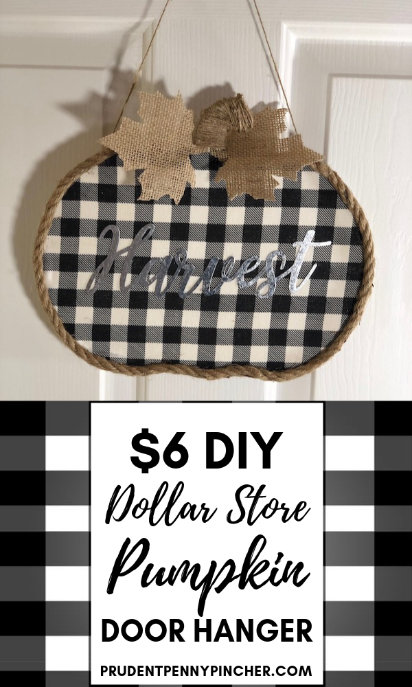$6 DIY Dollar Store Pumpkin Fall Door Hanger