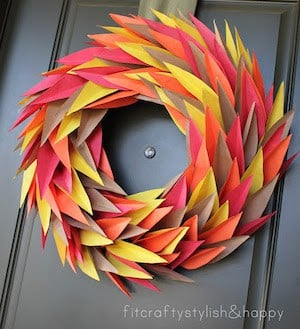Colorful Thanksgiving Paper Wreath