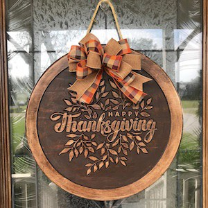 Happy Thanksgiving Wood Carved Wreath