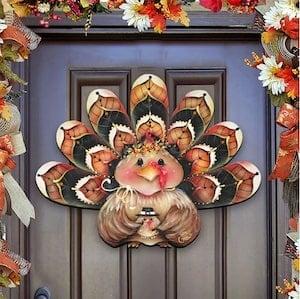 Turkey Wreath Wooden Door Hanger