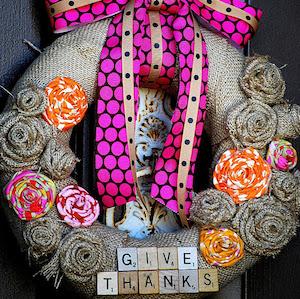 Burlap Scrabble Thanksgiving Wreath