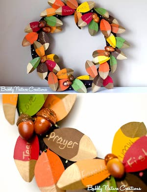 Thankfulness Wreath with Gold Dipped Leaves