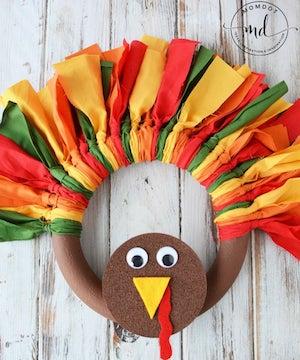DIY Fabric Turkey Wreath