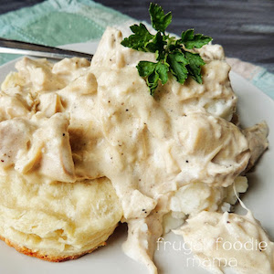 easy Creamed Turkey Over Biscuits