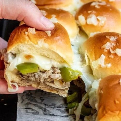 Philly Cheesesteak Slider sandwiches