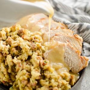 Pork Loin, Stuffing & Gravy