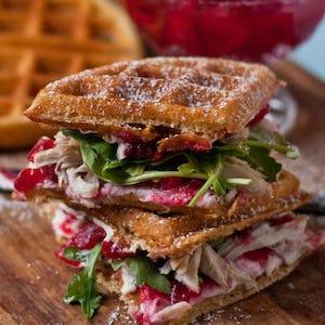 Waffle Cranberry Cream Cheese Turkey Sandwiches