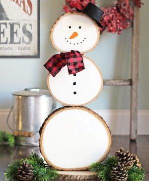 Reversible Wood Slice Snowman