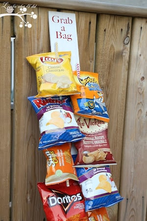 Command Strips and Clothespin Chip Storage