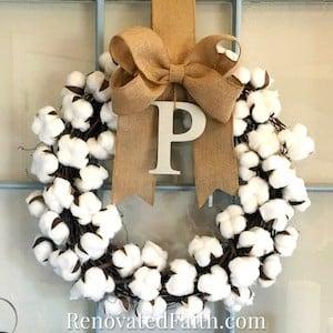 DIY Cotton Wreath with burlap bow