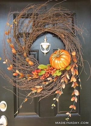 Harvest-Pumpkin Fall Wispy Wreath
