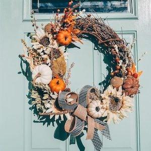 DIY Autumn Wreath with mini pumpkins, buffalo check ribbon, fall florals