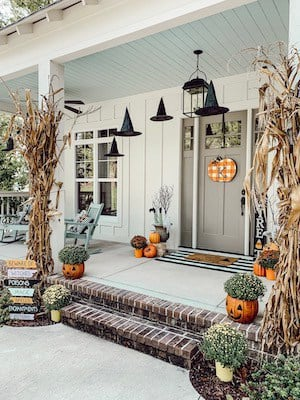 vintage fall front porch