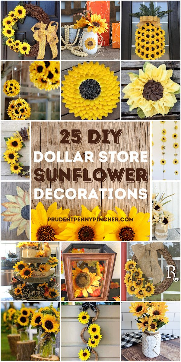 25 Sunflower Dollar Store DIY Home Decor Ideas