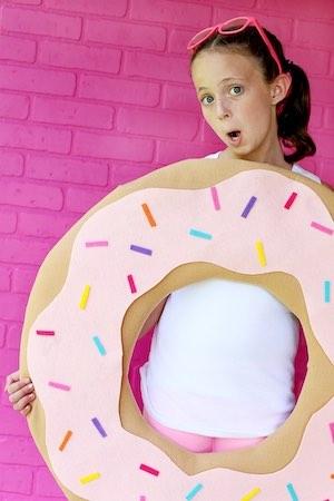 DIY No Sew Donut halloween costume for kids