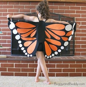 DIY Monarch Butterfly Wings halloween costume for girl