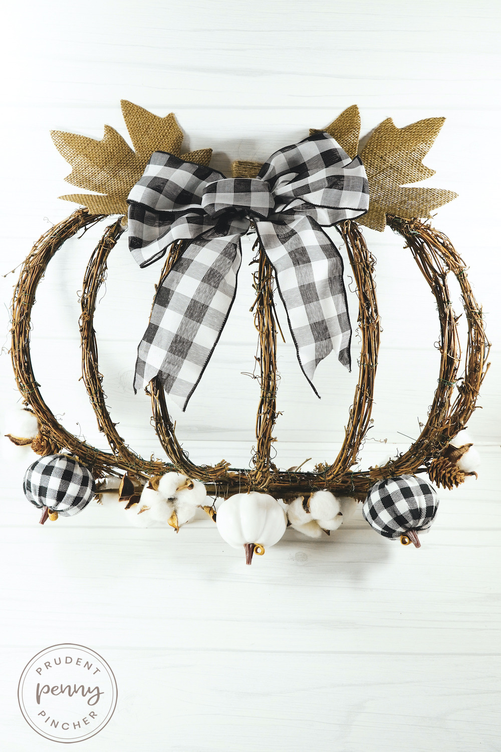 Vertical Image of Buffalo Check Pumpkin Fall Wreath