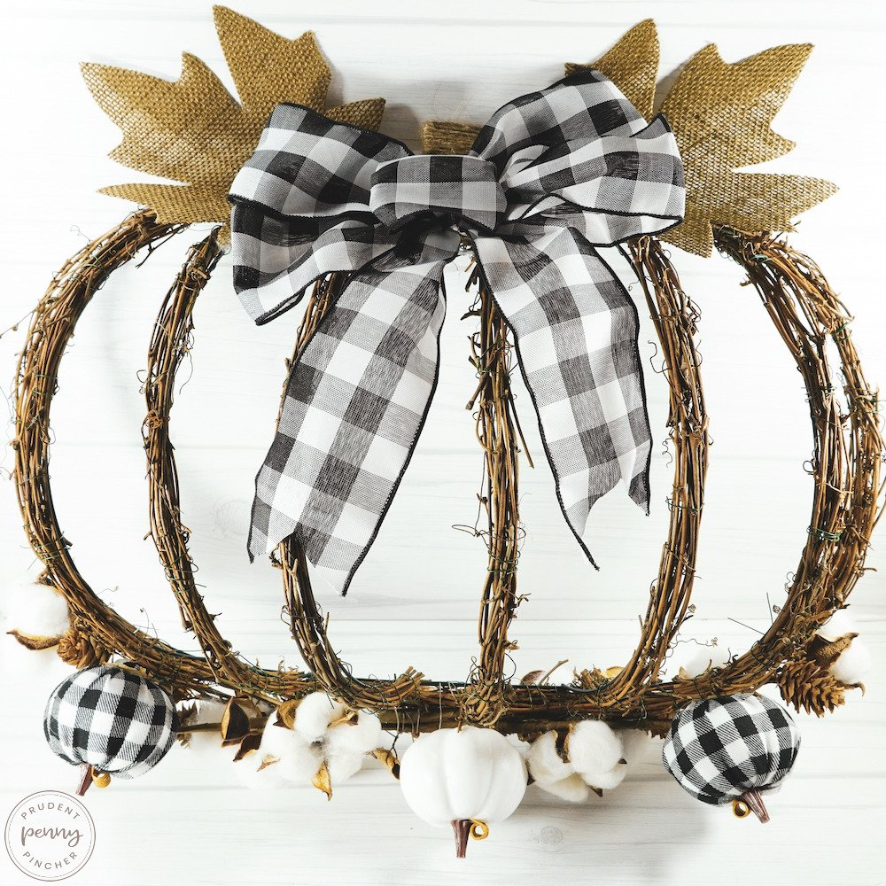 Close up Image of Buffalo Check Pumpkin Fall Wreath
