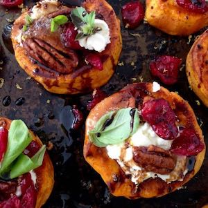 Sweet Potato Goat Cheese Appetizer with Cranberries & Honey Balsamic Glaze