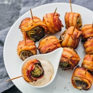 Bacon Wrapped Brussels Sprouts with Balsamic Mayo Dip Fall Appetizer