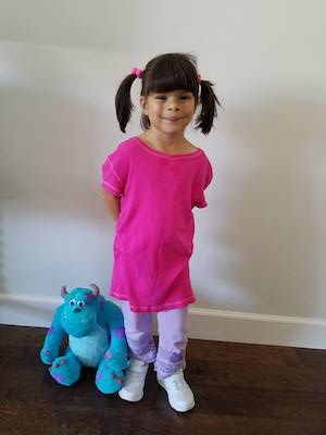 last minute Easy Boo from Monsters Inc. halloween Costume