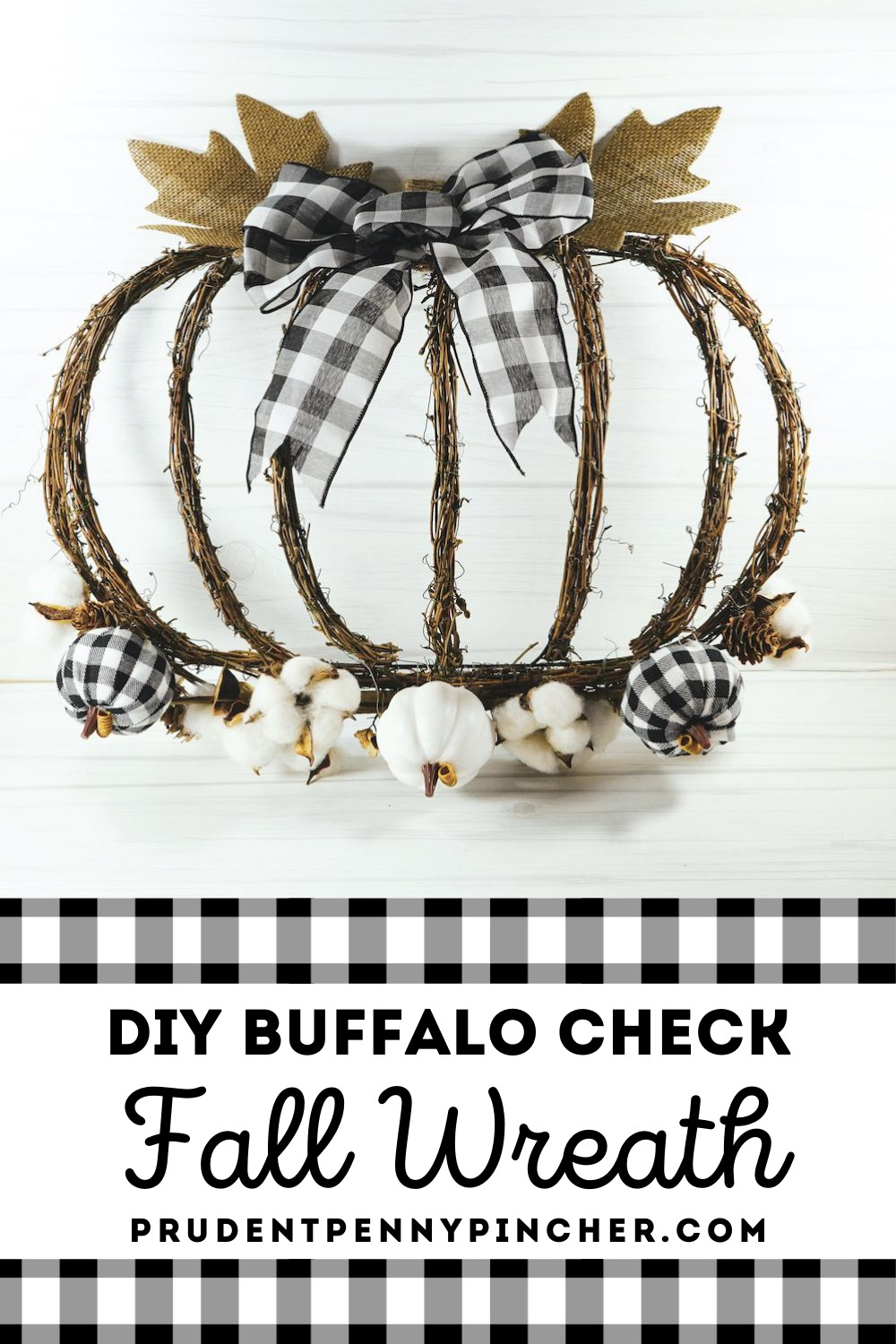 Diy Buffalo Check Pumpkin Fall Wreath Prudent Penny Pincher