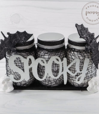 square image of mason jar halloween centerpiece