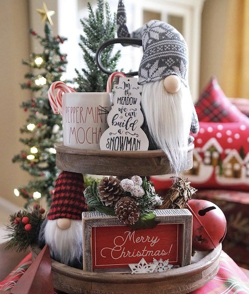 Christmas Tiered Tray with decorated with gnomes