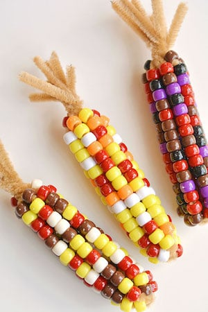 Beaded Pipe Cleaner Indian Corn thanksgiving craft for kids