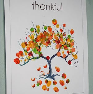 Colorful Leaf Printing thanksgiving craft for kids