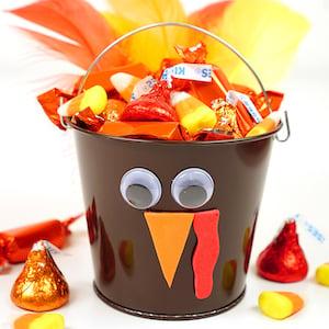 Thanksgiving Turkey Treat Buckets Kids' Craft
