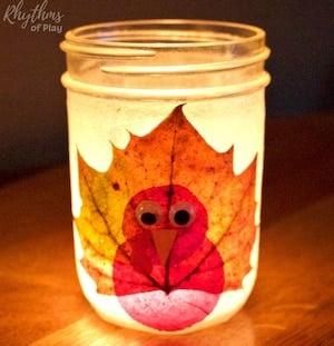 Thanksgiving Turkey Leaf Mason jar lanterns