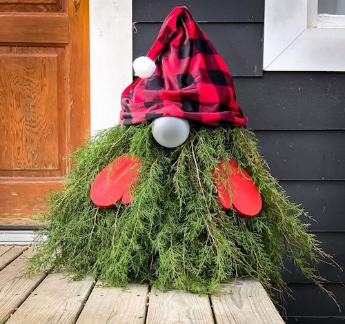 Outdoor Evergreen Christmas Gnome