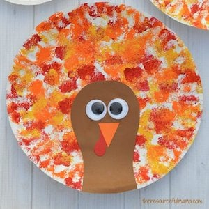 Sponge Painted Turkey thanksgiving craft for kids