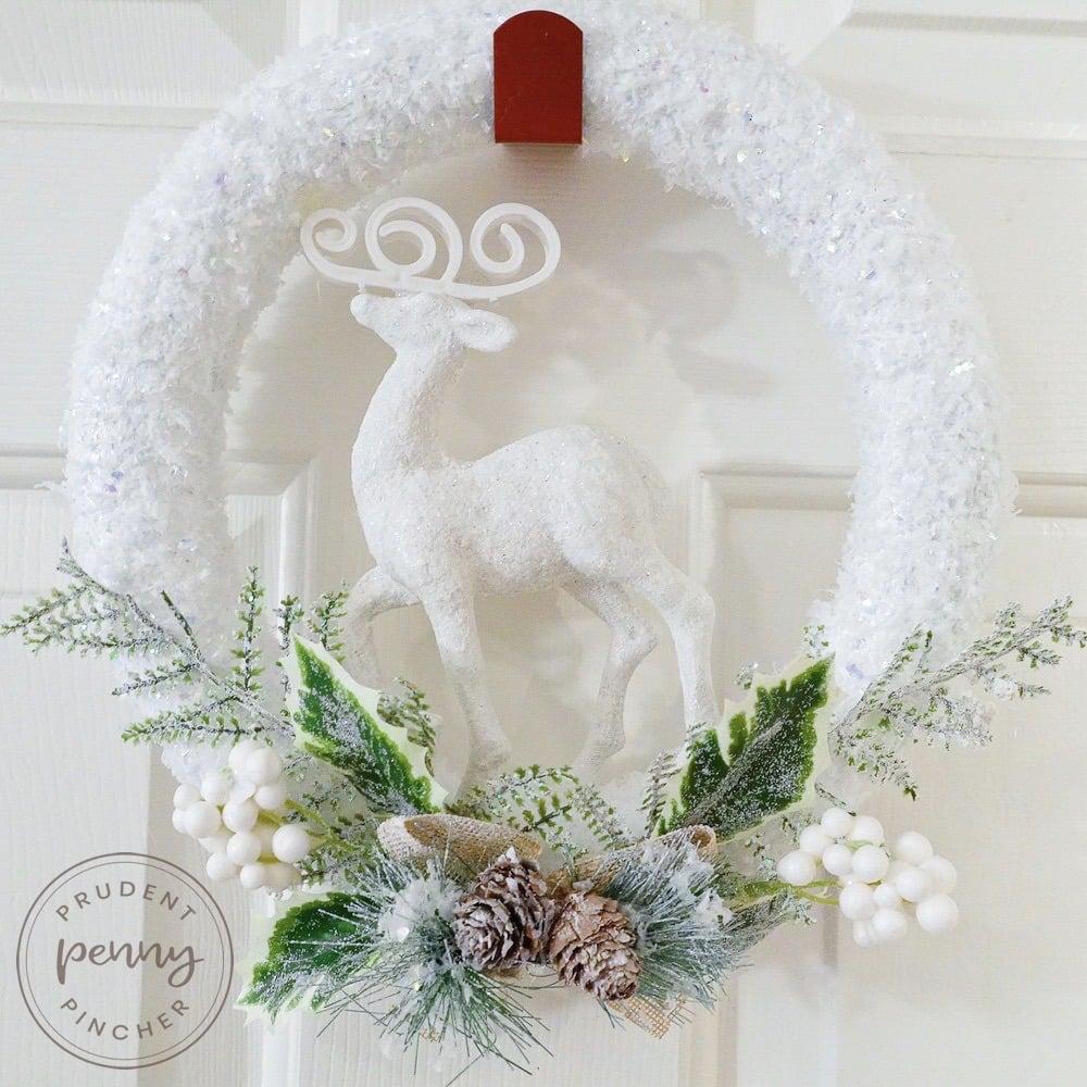 close up of woodland dollar tree Christmas wreath