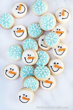Mini Snowman Sugar Cookies