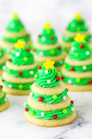 Stacked Christmas Tree Sugar Cookies