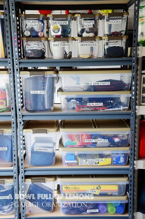 Garage shelving Organization