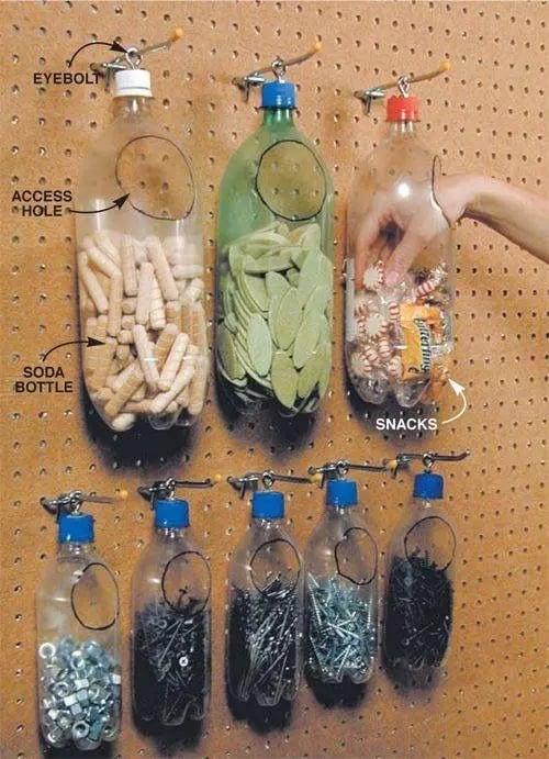 Upcycled Soda Bottle Hardware Storage on a pegboard