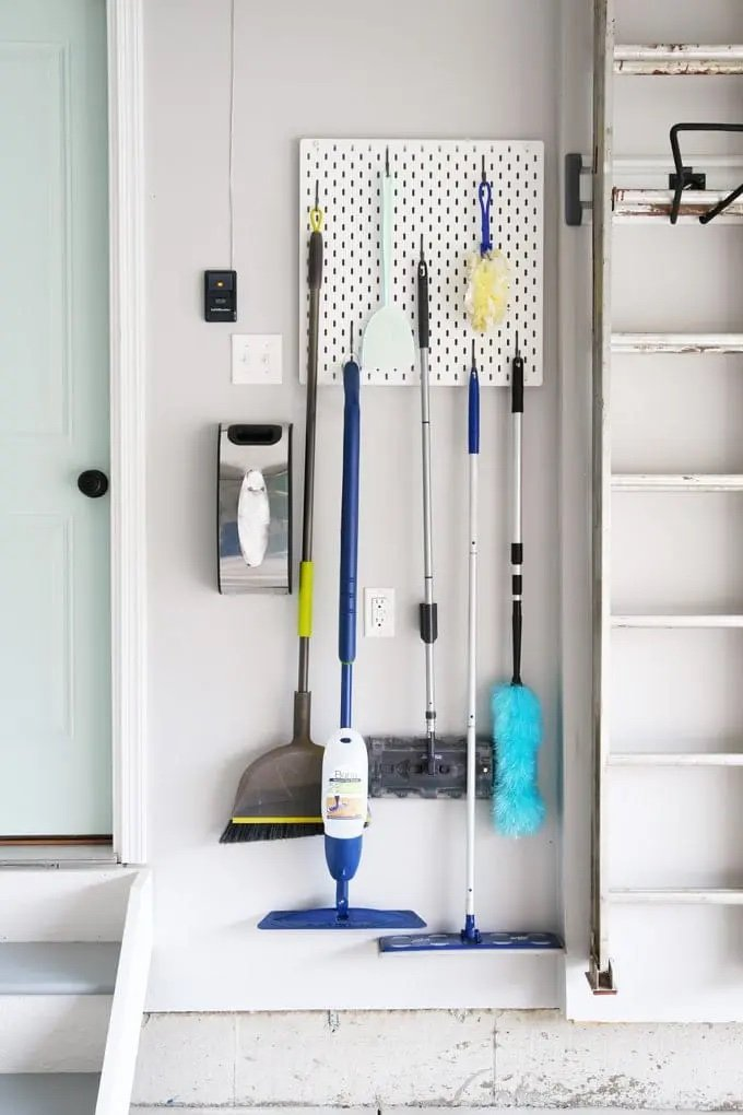 Wall mounted pegboard Garage Cleaning Station