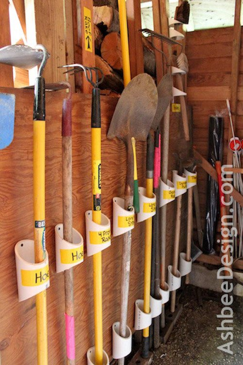 Organizing Tools  on the wall with PVC pipe