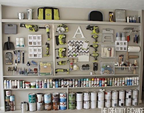 DIY garage Pegboard Storage