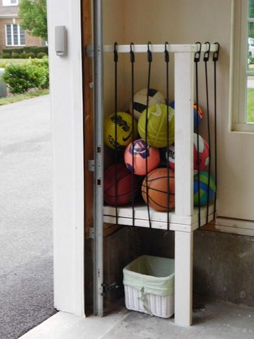 outdoor Ball Storage in the garage using bungee cords