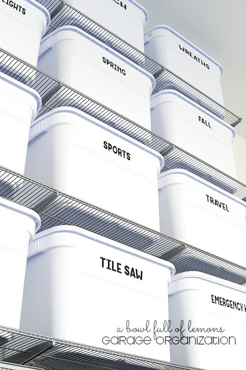 Garage Organization Using Bins